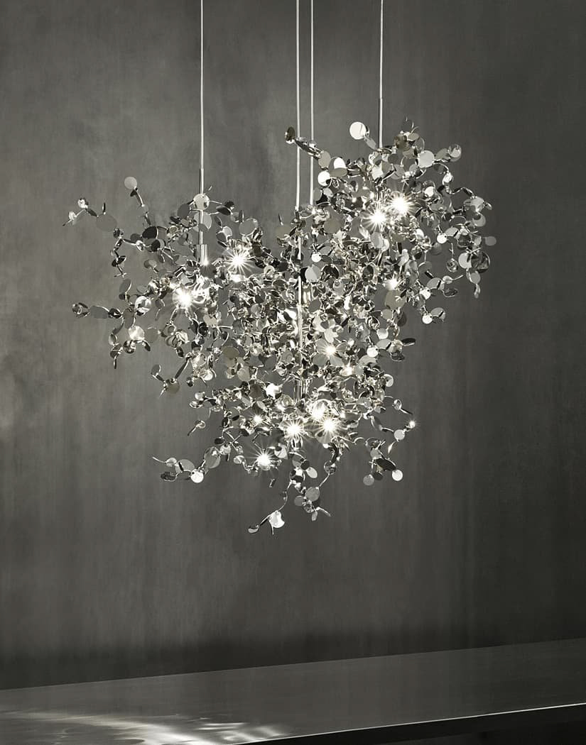 021 – A Precious Cloud Sculpture of Light – Argent Fixtures by Terzani Lighting Italy – Three Single Element Shimmering Cloud Suspensions Silver