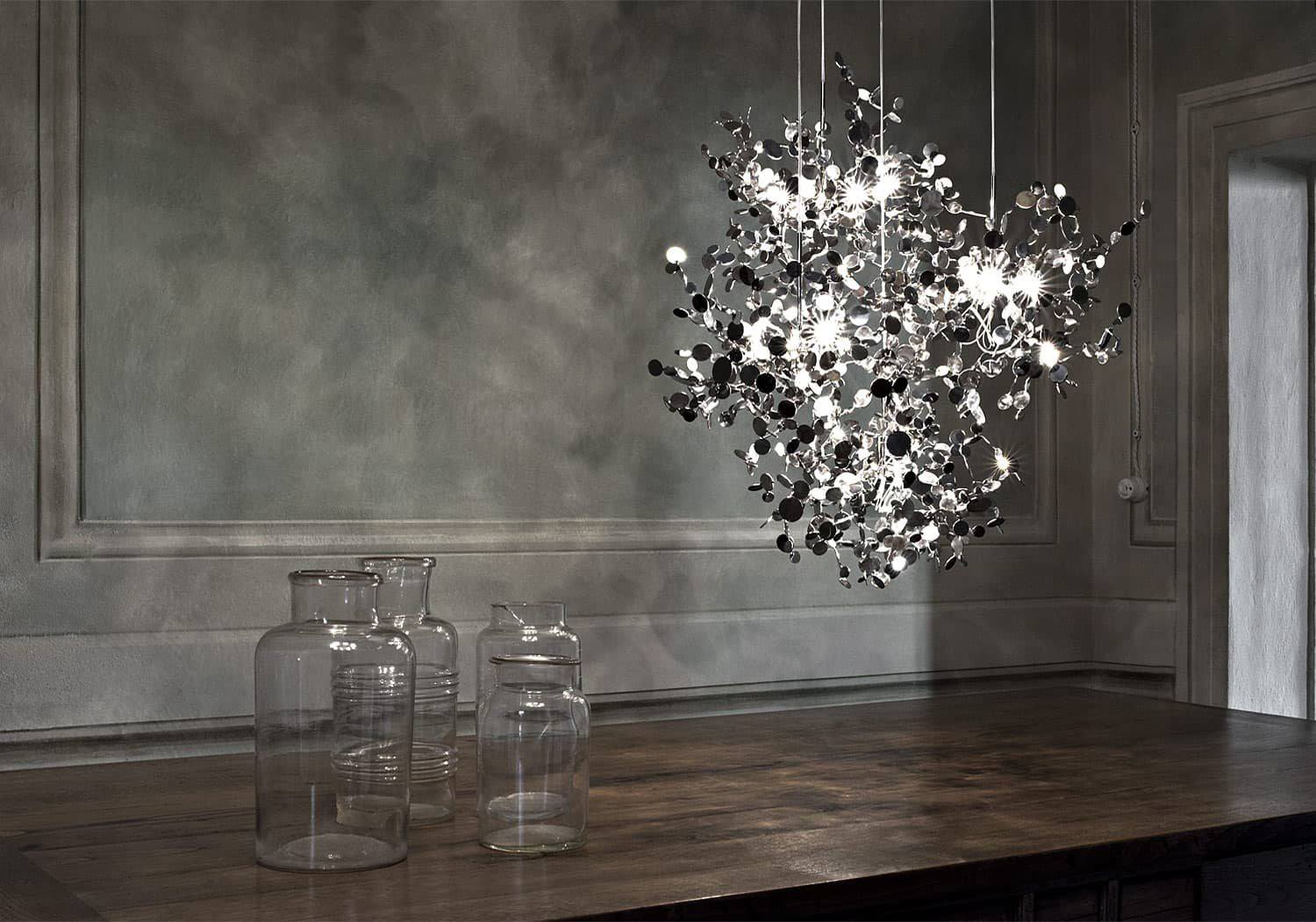 A Precious Cloud Sculpture of Light – Argent Fixtures by Terzani Lighting Italy – 3 Single Element Shimmering Cloud Suspensions