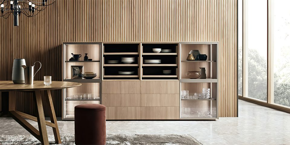 K-lab Contemporary Kitchen Ernestomeda Italy - Giuseppe Bavuso - K-lab Vetrina Slide Cabinet