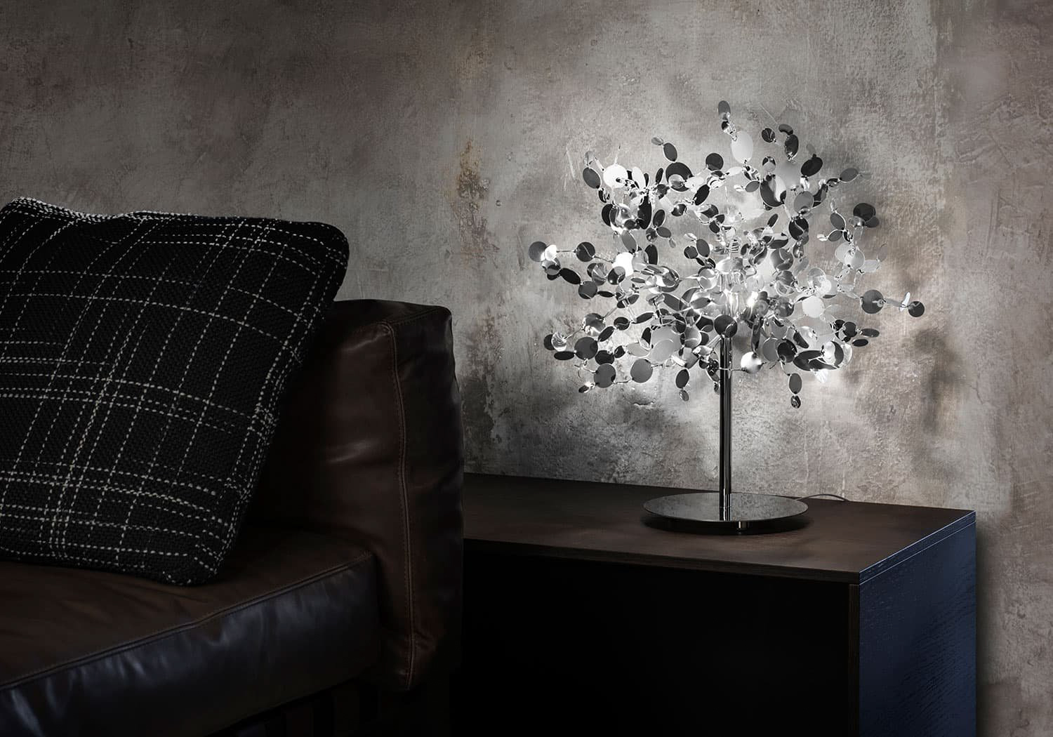A Precious Cloud Sculpture of Light – Argent Fixtures by Terzani Lighting Italy – Shimmering Cloud Table Light