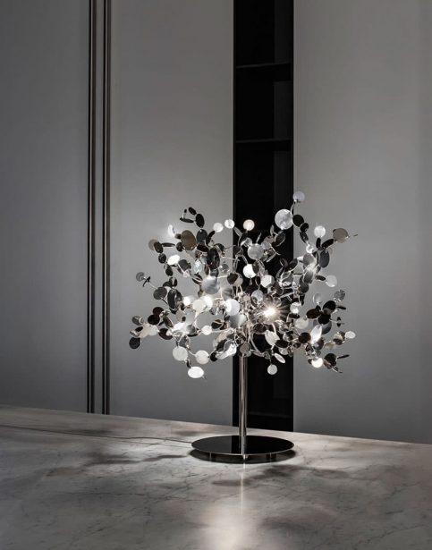A Precious Cloud Sculpture of Light - Argent Fixtures by Terzani Lighting Italy - Shimmering Cloud Table Light Silver