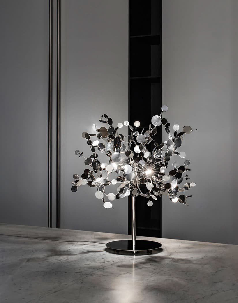 A Precious Cloud Sculpture of Light – Argent Fixtures by Terzani Lighting Italy – Shimmering Cloud Table Light Silver