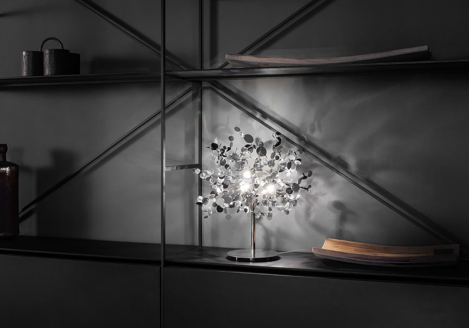 A Precious Cloud Sculpture of Light – Argent Fixtures by Terzani Lighting Italy – Single Element Shimmering Cloud Table Light Silver