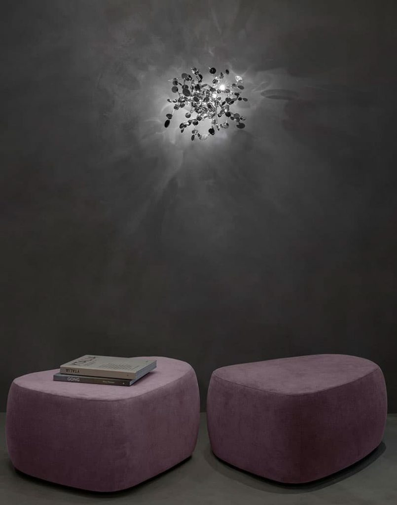 A Precious Cloud Sculpture of Light - Argent Fixtures by Terzani Lighting Italy - Shimmering Cloud Light Silver Wall Mount