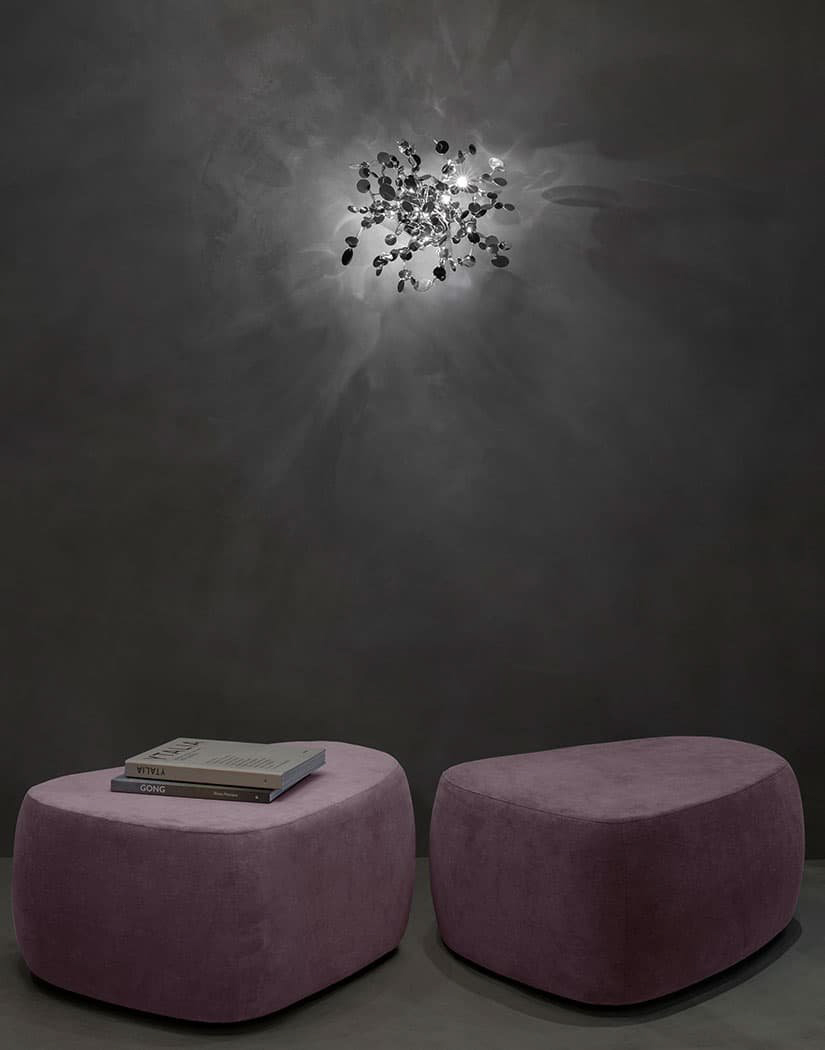 A Precious Cloud Sculpture of Light – Argent Fixtures by Terzani Lighting Italy – Shimmering Cloud Light Silver Wall Mount
