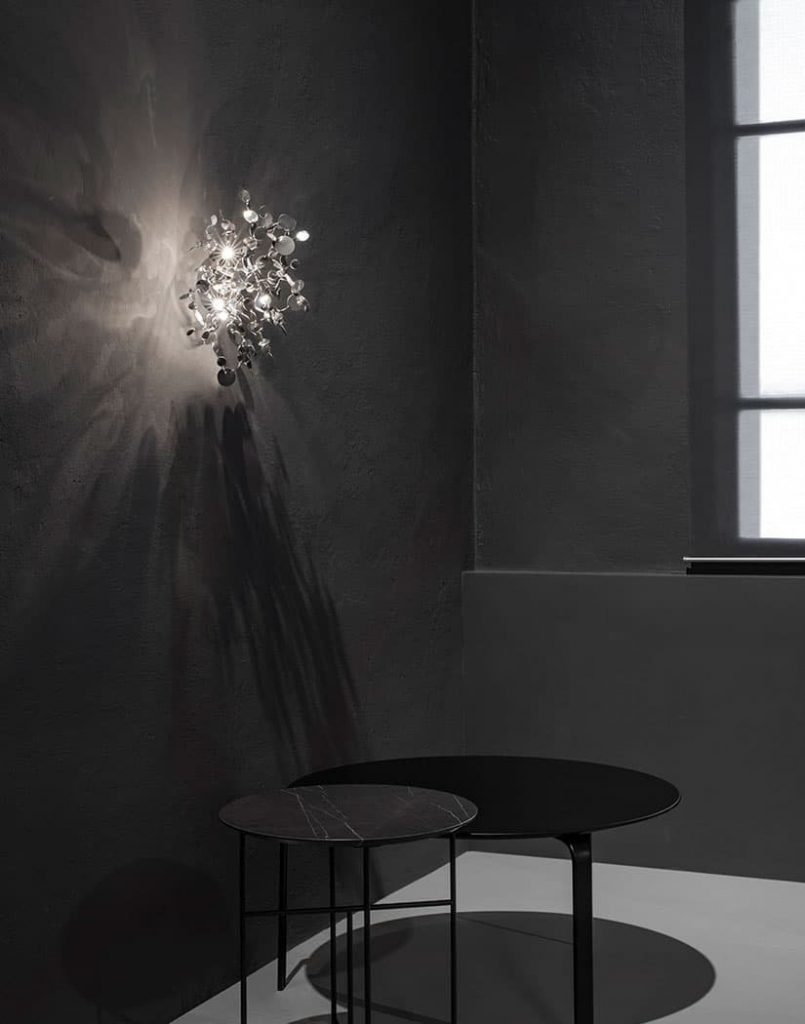 A Precious Cloud Sculpture of Light - Argent Fixtures by Terzani Lighting Italy - Shimmering Cloud Light Silver Wall Fixture