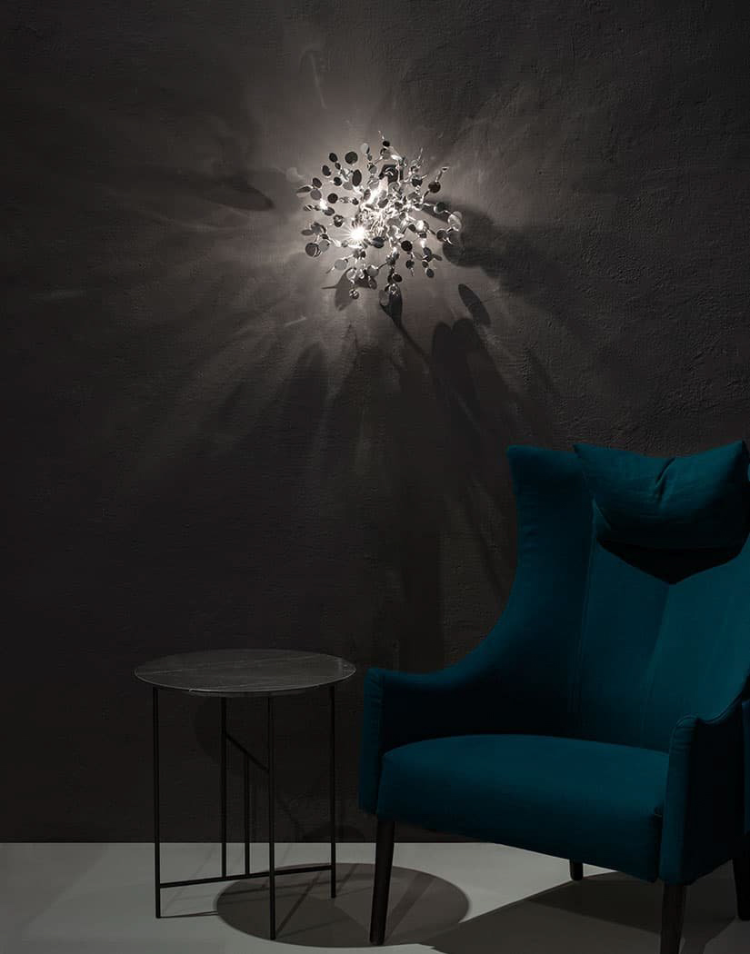 A Precious Cloud Sculpture of Light – Argent Fixtures by Terzani Lighting Italy – Shimmering Cloud Light Silver Wall