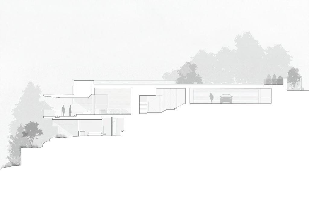 Elevation - Sunset House Modern Organic Minimalism - West Vancouver, BC, Canada