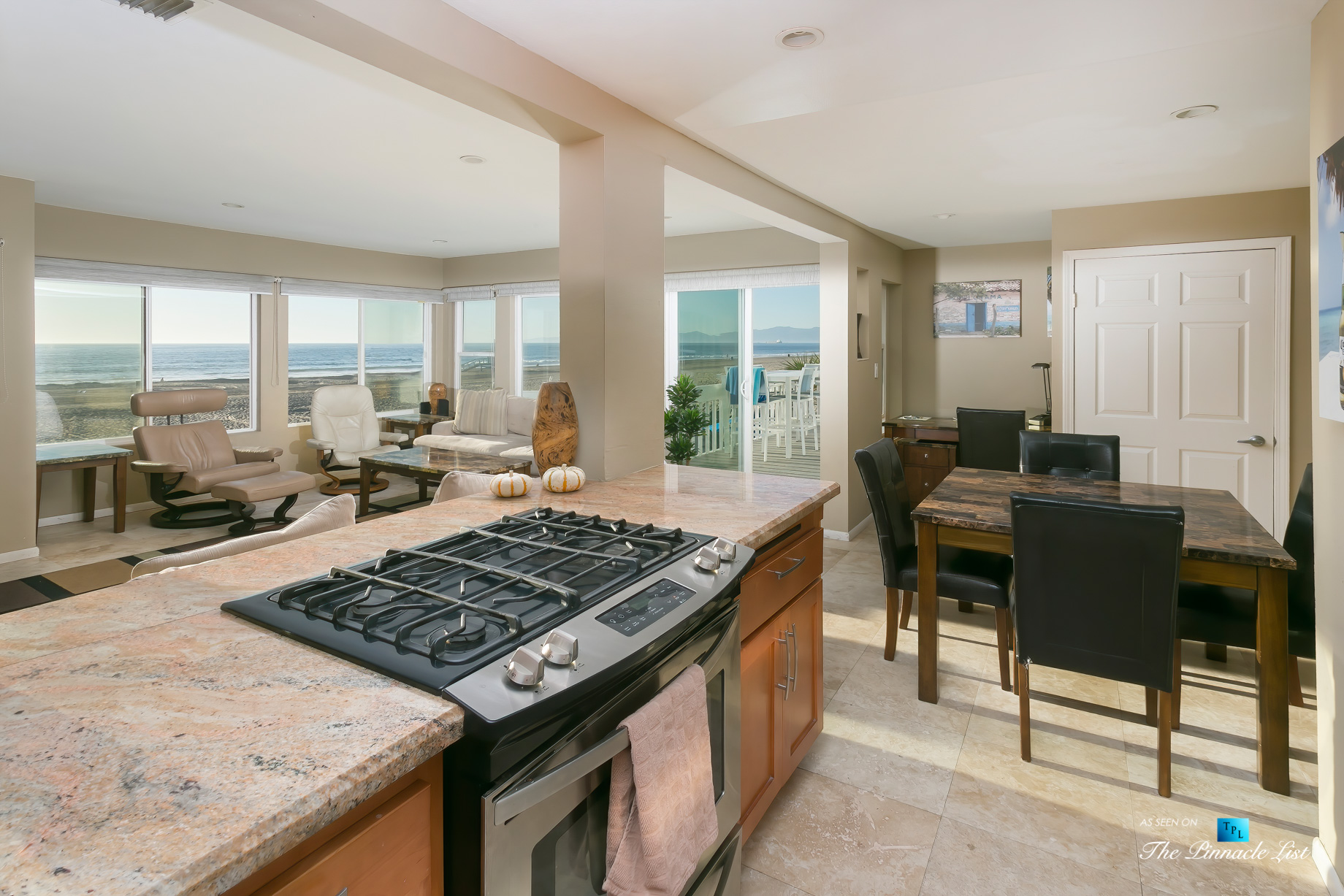 3500 The Strand, Hermosa Beach, CA, USA – Kitchen and Living Room – Luxury Real Estate – Original 90210 Beach House – Oceanfront Home