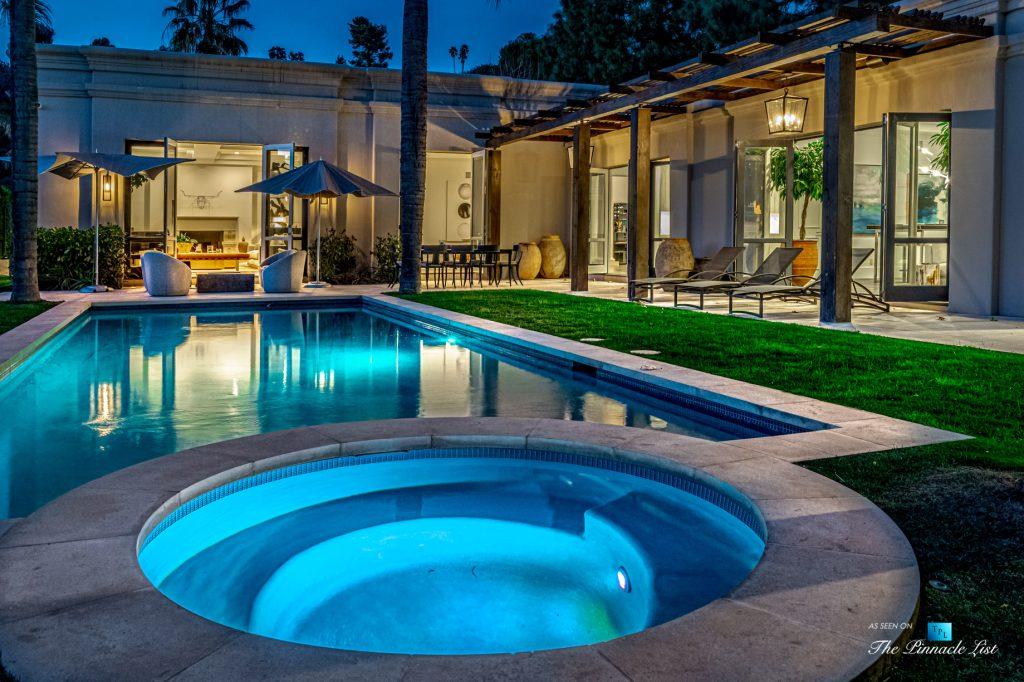 2720 Ellison Dr, Beverly Hills, CA, USA - Exterior Hot Tub at Night - Luxury Real Estate - Italian Villa Hilltop Home