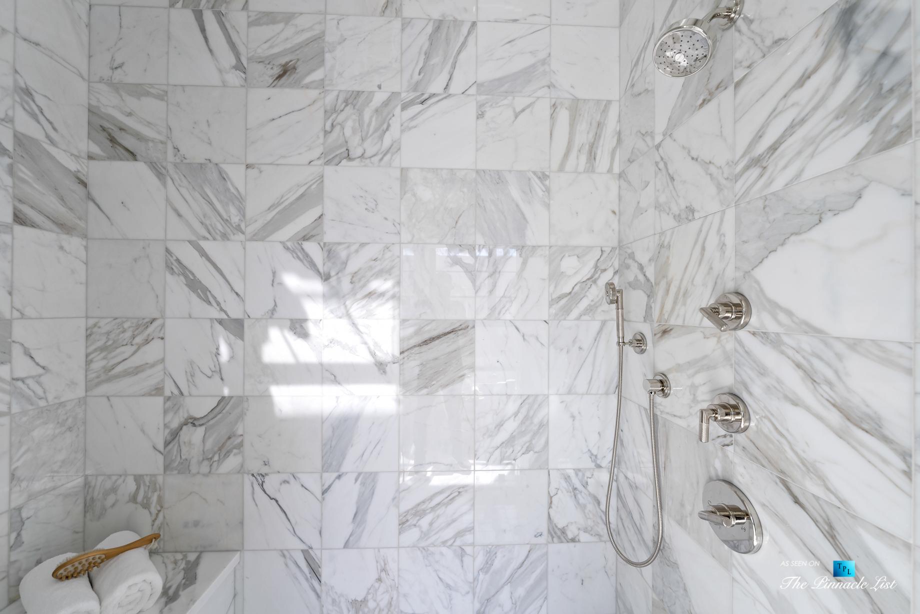 508 The Strand, Manhattan Beach, CA, USA – Master Bathroom Marble Encased Shower – Luxury Real Estate – Oceanfront Home