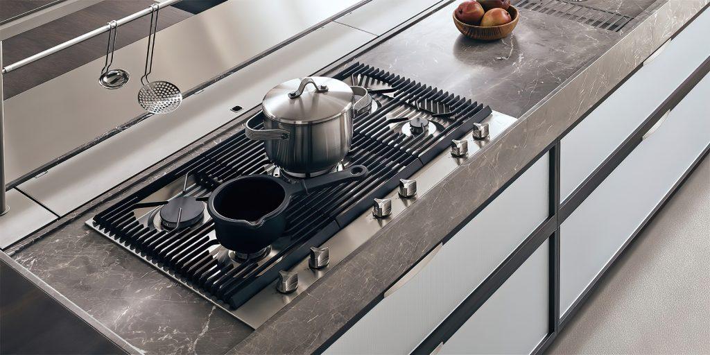 K-lab Contemporary Kitchen Ernestomeda Italy - Giuseppe Bavuso - Gourmet Hob