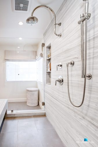 825 Highview Ave, Manhattan Beach, CA, USA - Master Bathroom Marble Encased Shower - Luxury Real Estate - Modern Spanish Home