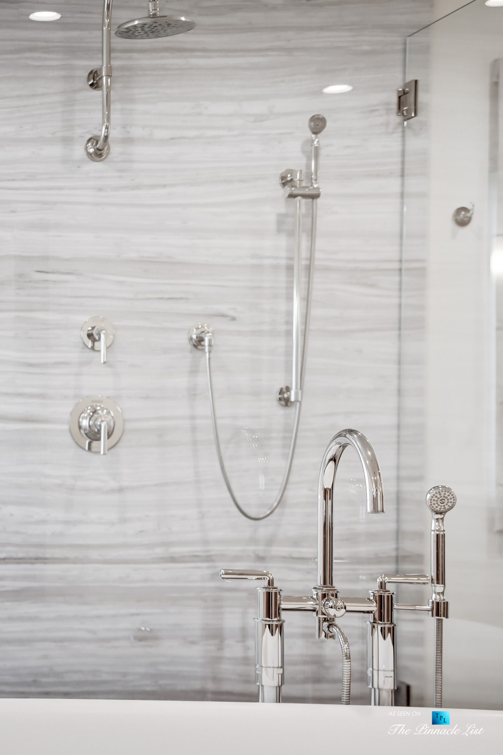 825 Highview Ave, Manhattan Beach, CA, USA – Master Bathroom Marble Encased Shower – Luxury Real Estate – Modern Spanish Home
