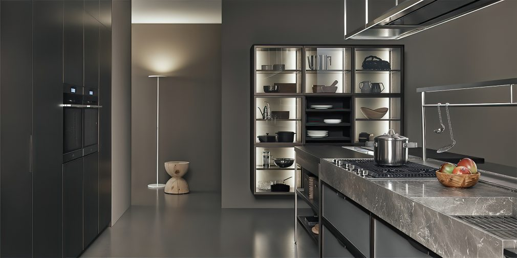 K-lab Contemporary Kitchen Ernestomeda Italy - Giuseppe Bavuso - Show Glass Fronted Unit