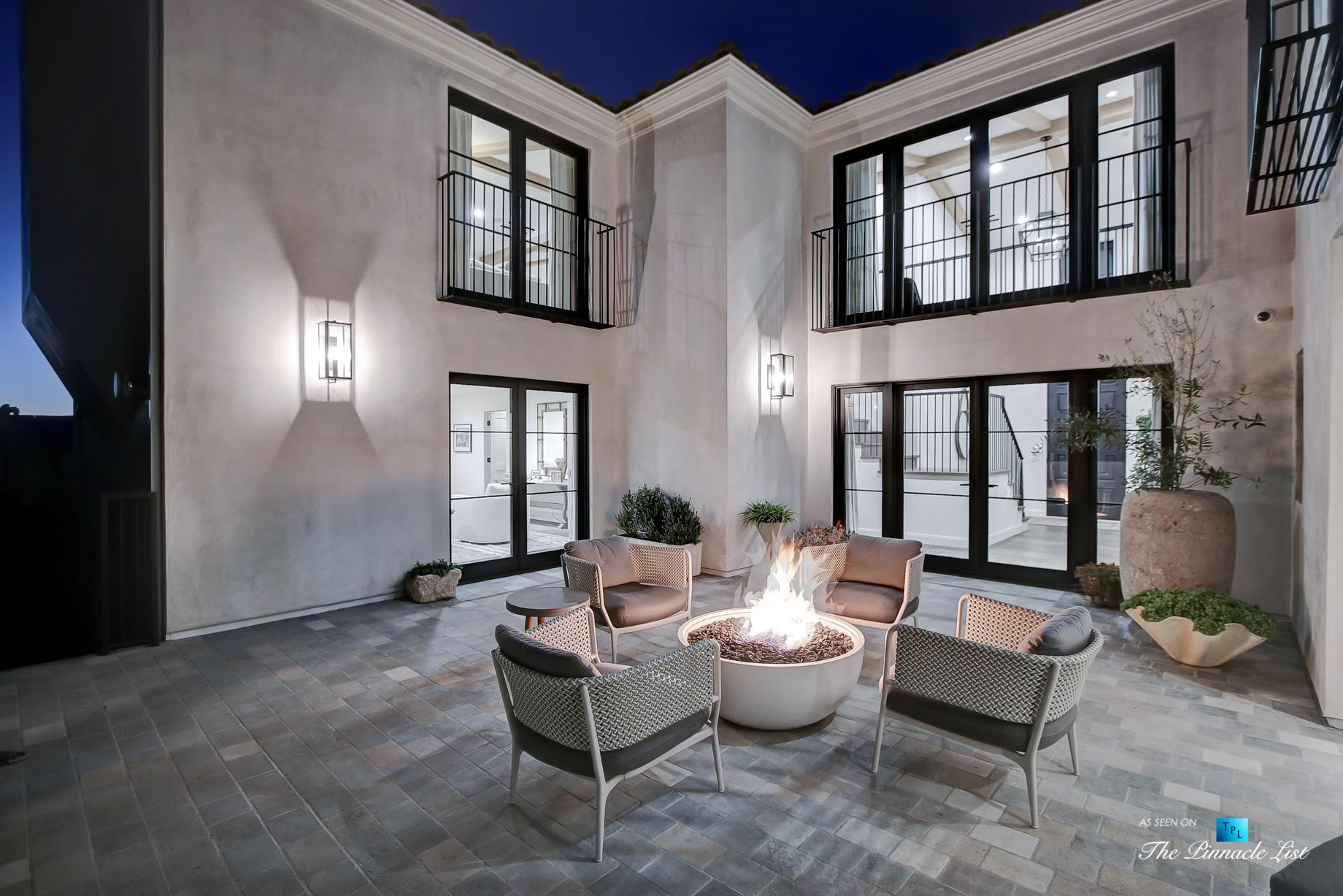 825 Highview Ave, Manhattan Beach, CA, USA – Night Private Exterior Courtyard – Luxury Real Estate – Modern Spanish Home