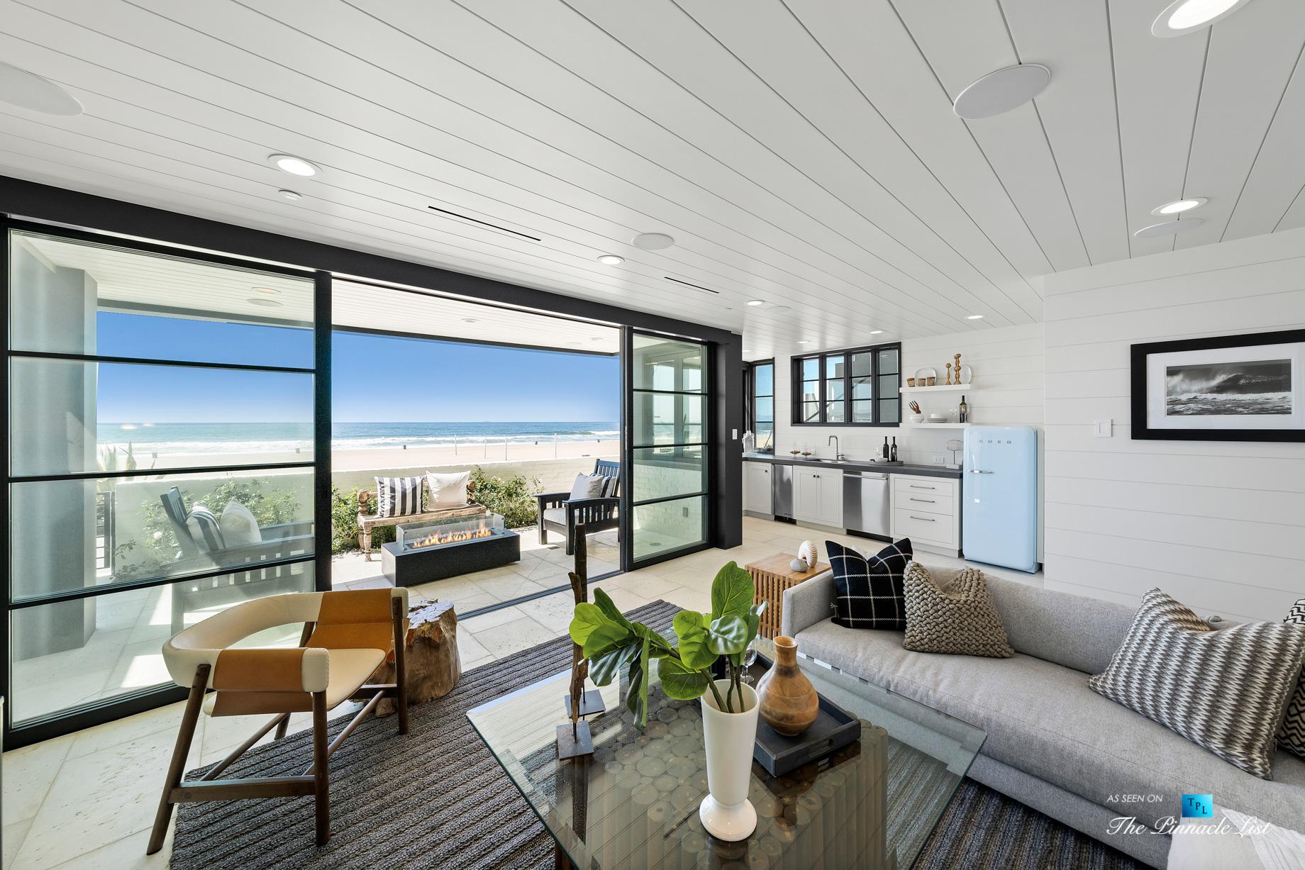 508 The Strand, Manhattan Beach, CA, USA - Lower Level Living Room Beachfront Patio - Luxury Real Estate - Oceanfront Home