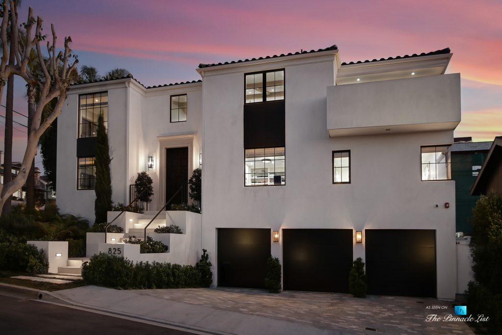 825 Highview Ave, Manhattan Beach, CA, USA - Night Exterior Front House View - Luxury Real Estate - Modern Spanish Home