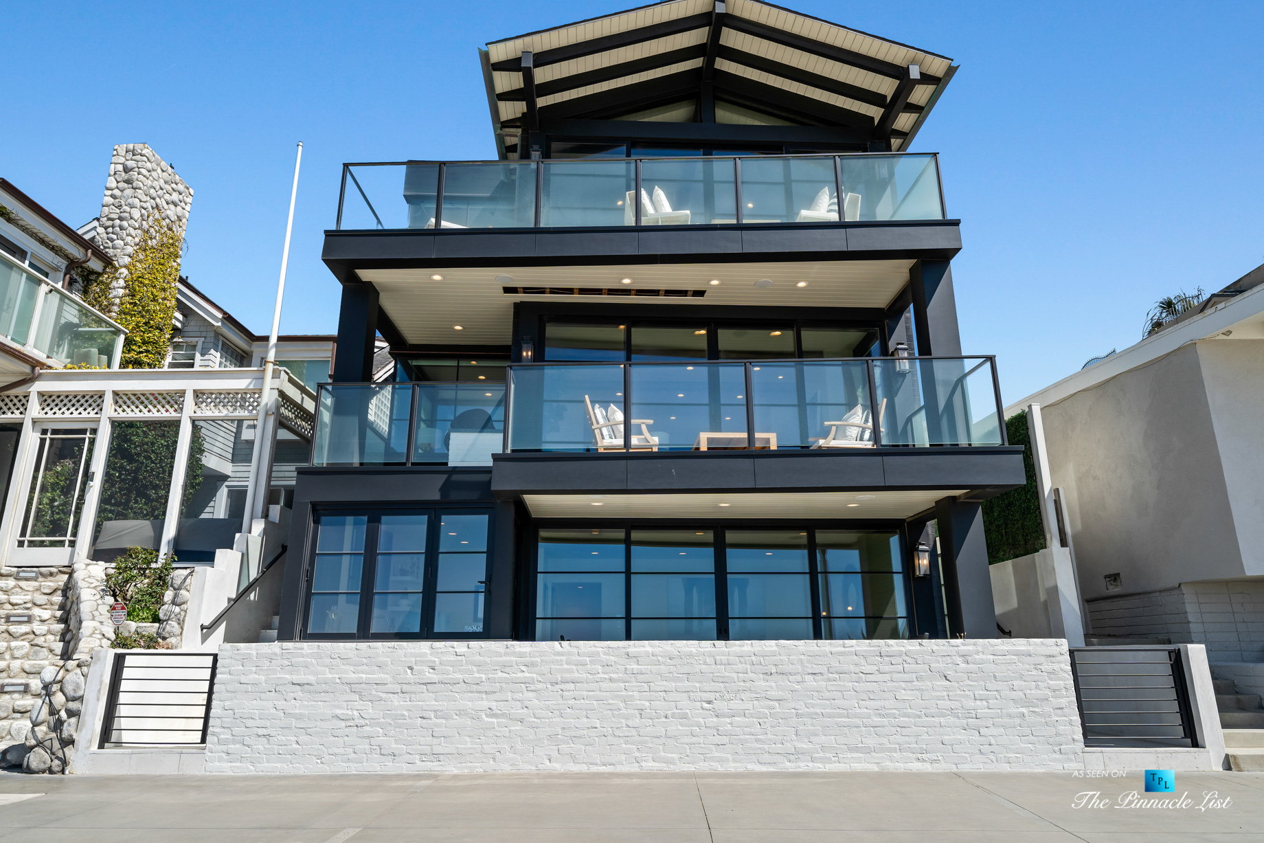 508 The Strand, Manhattan Beach, CA, USA – Exterior Front Balcony Details – Luxury Real Estate – Oceanfront Home
