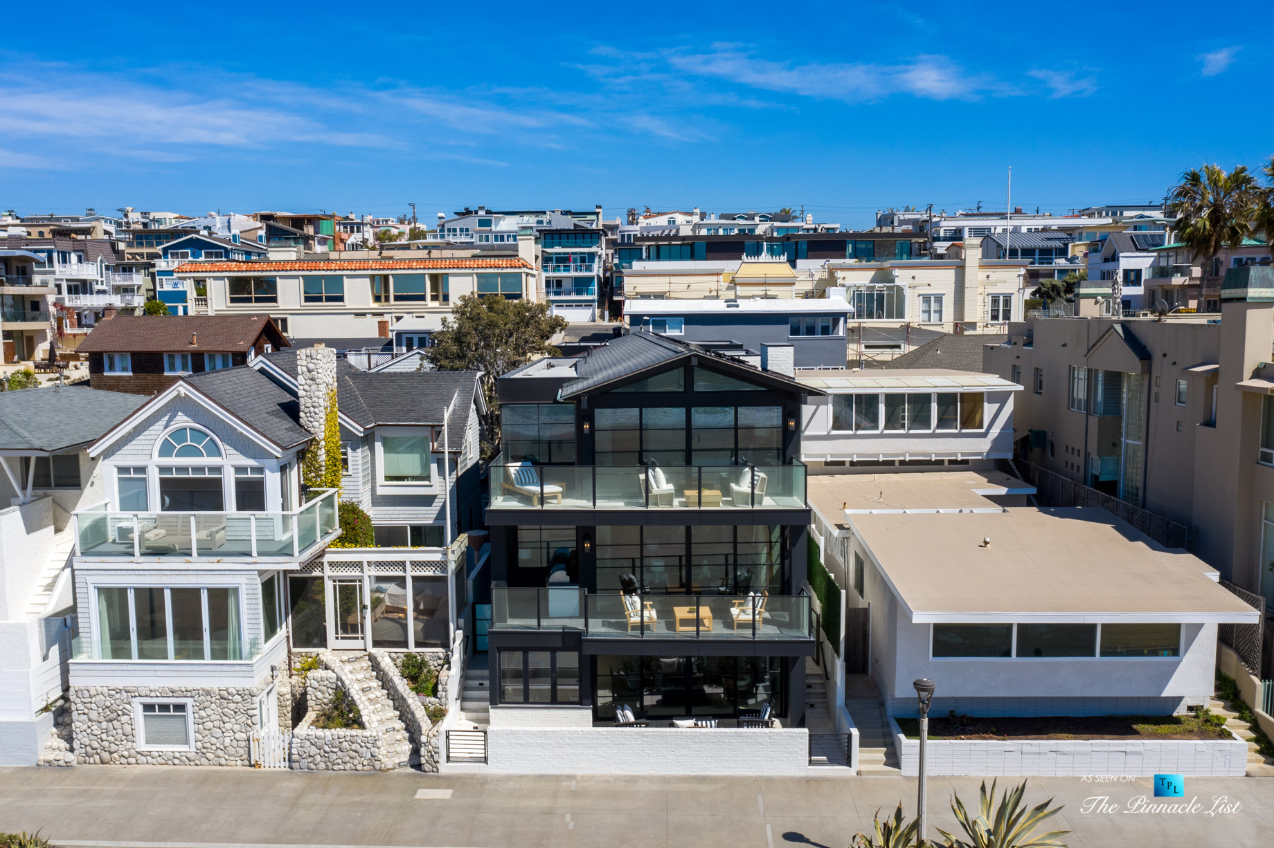 508 The Strand, Manhattan Beach, CA, USA – Exterior Front Balcony Aerial View – Luxury Real Estate – Oceanfront Home