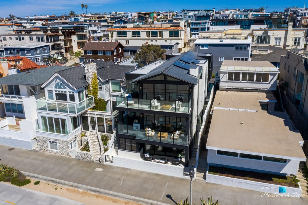 508 The Strand, Manhattan Beach, CA, USA - Exterior Front Balcony Drone View - Luxury Real Estate - Oceanfront Home