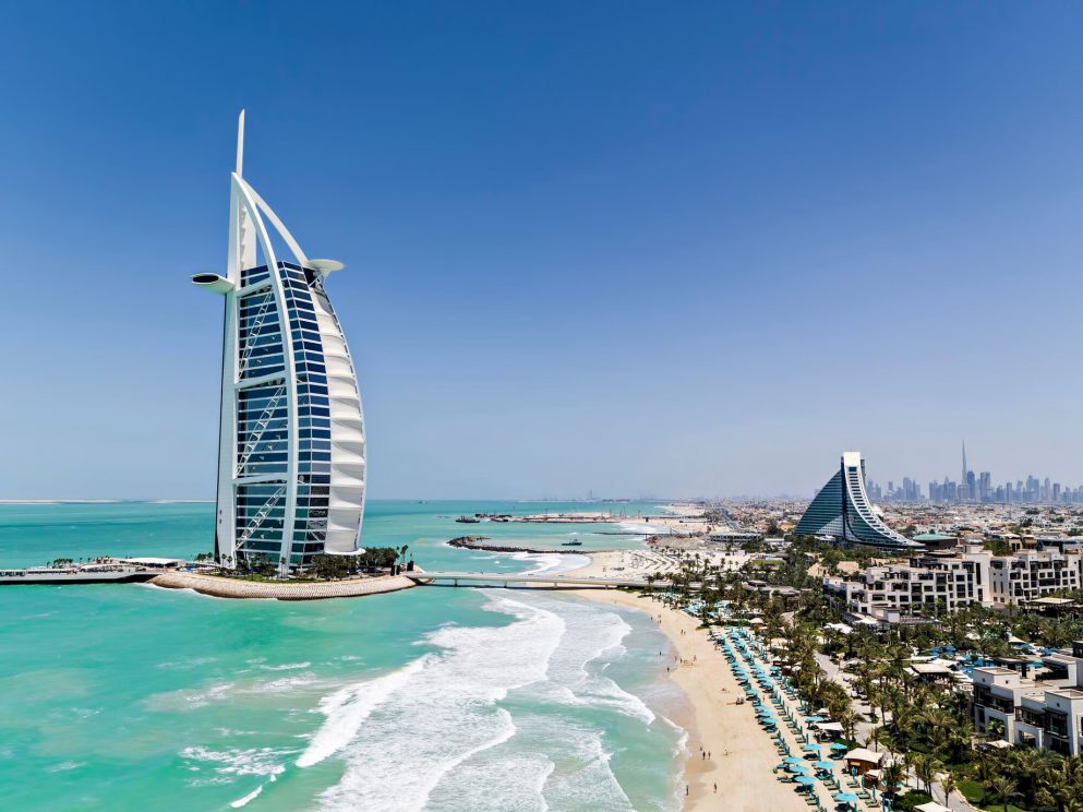 Burj Al Arab Luxury Hotel - Jumeirah St, Dubai, UAE - City View Aerial_