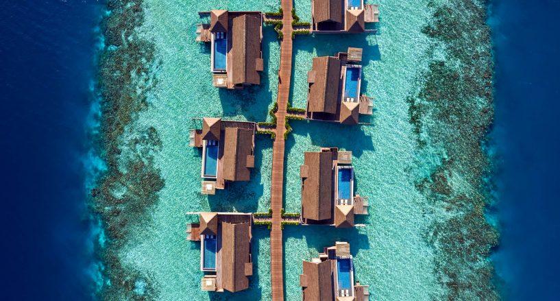 Waldorf Astoria Maldives Ithaafushi Luxury Resort - Ithaafushi Island, Maldives - Overwater Bungalows Aerial