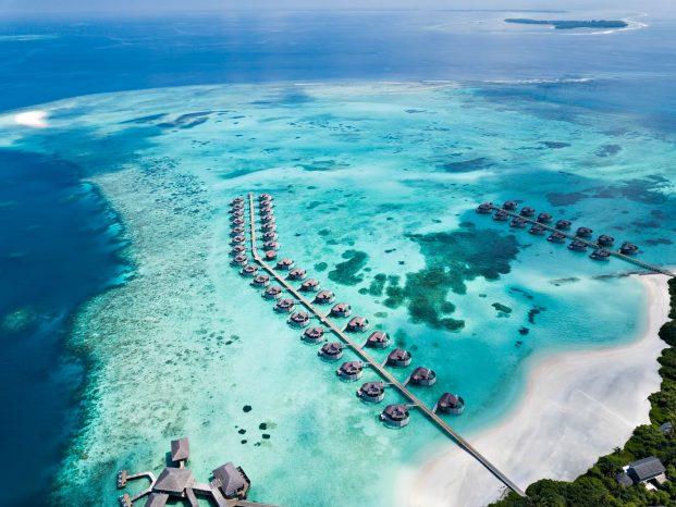 Six Senses Laamu Luxury Resort - Laamu Atoll, Maldives - Overwater Villa Aerial