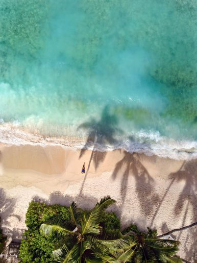 Six Senses Zil Pasyon Luxury Resort - Felicite Island, Seychelles - Grand Anse Beach Overhead Aerial