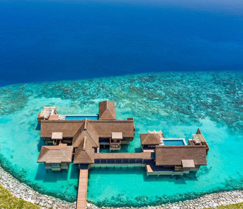 Waldorf Astoria Maldives Ithaafushi Luxury Resort - Ithaafushi Island, Maldives - Overwater Villa with Pool Three Bedroom Aerial View