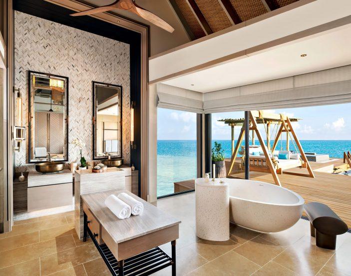Waldorf Astoria Maldives Ithaafushi Luxury Resort - Ithaafushi Island, Maldives - Overwater Villa Master Bathroom Infinity Pool View