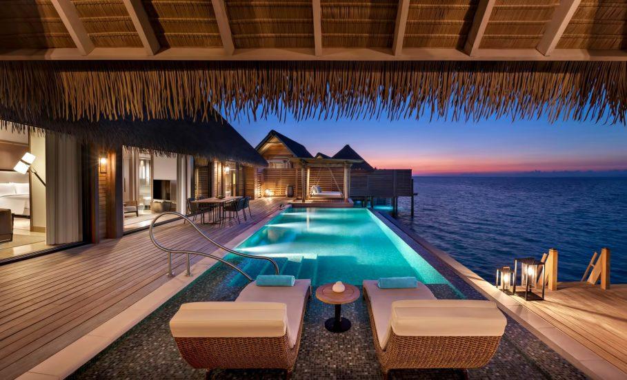 Waldorf Astoria Maldives Ithaafushi Luxury Resort - Ithaafushi Island, Maldives - Overwater Villa Infinity Pool Sunset