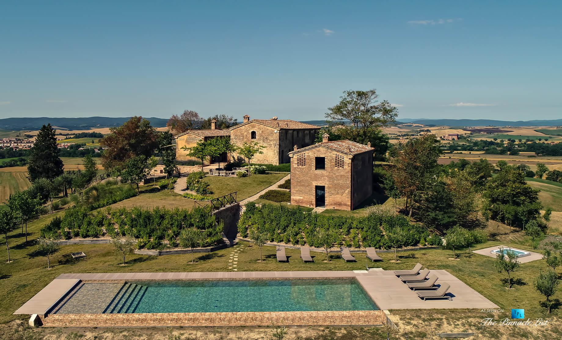 Historic Tuscan Villa – Podere Panico Estate, Monteroni d'Arbia, Siena, Tuscany, Italy – Aerial Property View