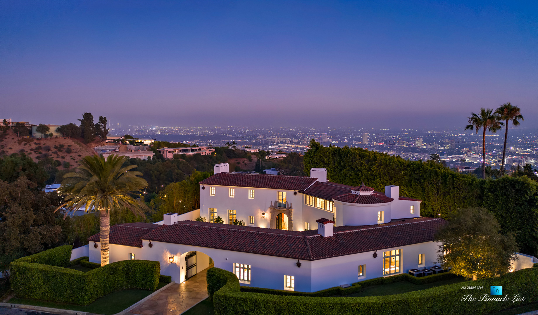 Hollywood Hills Luxury Estate – 9240 Robin Dr, Los Angeles, CA, USA – Night Aerial View