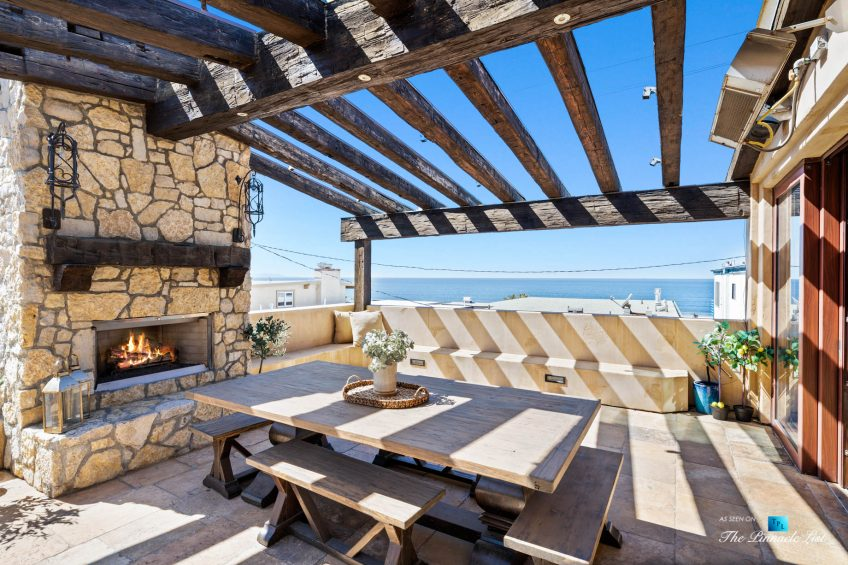 a216 7th St, Manhattan Beach, CA, USA - Luxury Real Estate - Coastal Villa Home - Outdoor Balcony Fireplace and Dining Table
