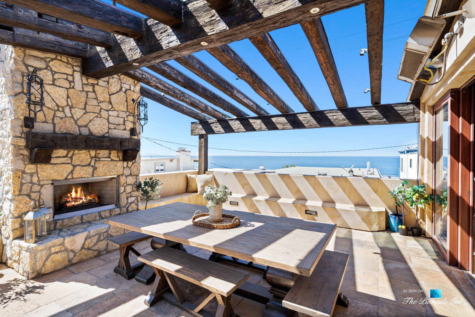 a216 7th St, Manhattan Beach, CA, USA – Luxury Real Estate – Coastal Villa Home – Outdoor Balcony Fireplace and Dining Table