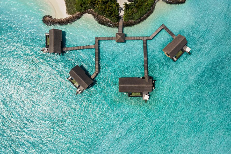 One&Only Reethi Rah Luxury Resort - North Male Atoll, Maldives - Overwater Villa Overhead Aerial View
