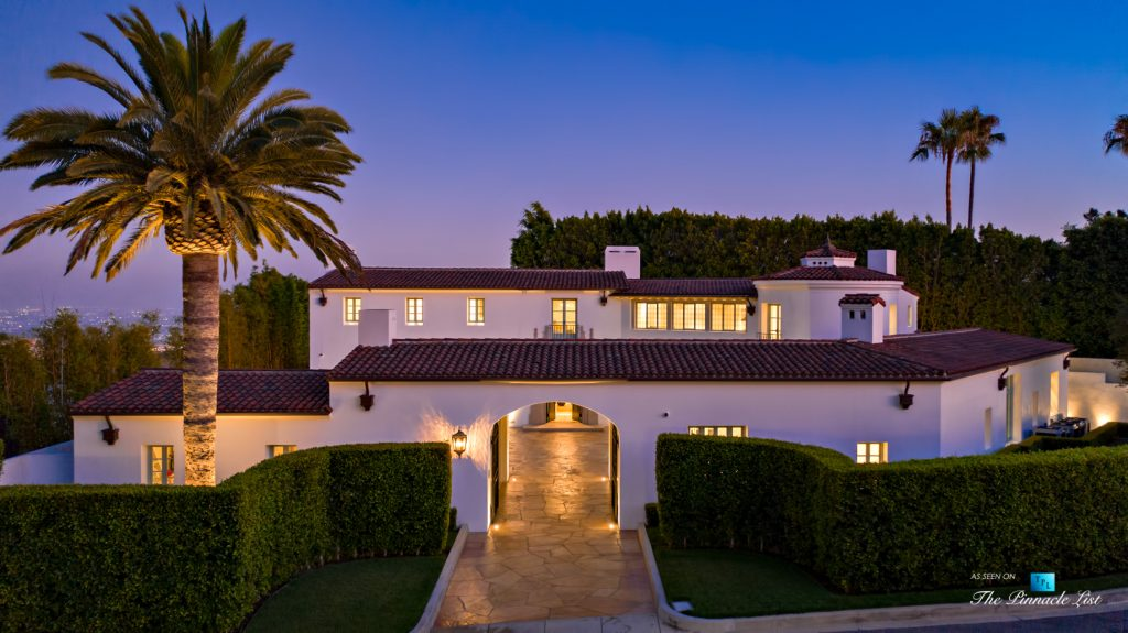 Hollywood Hills Luxury Estate - 9240 Robin Dr, Los Angeles, CA, USA - Night Front View