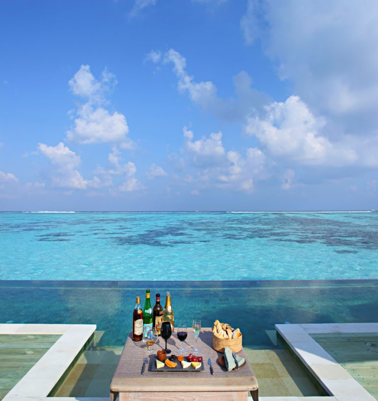 Gili Lankanfushi Luxury Resort - North Male Atoll, Maldives - The Private Reserve Infinity Pool Beverages and Cheese