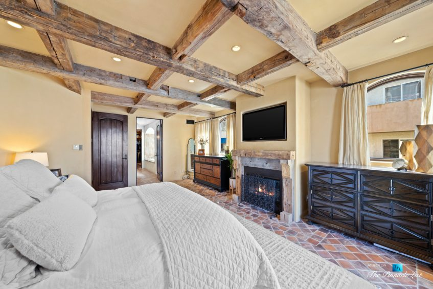 216 7th St, Manhattan Beach, CA, USA - Luxury Real Estate - Coastal Villa Home - Master Bedroom Fireplace