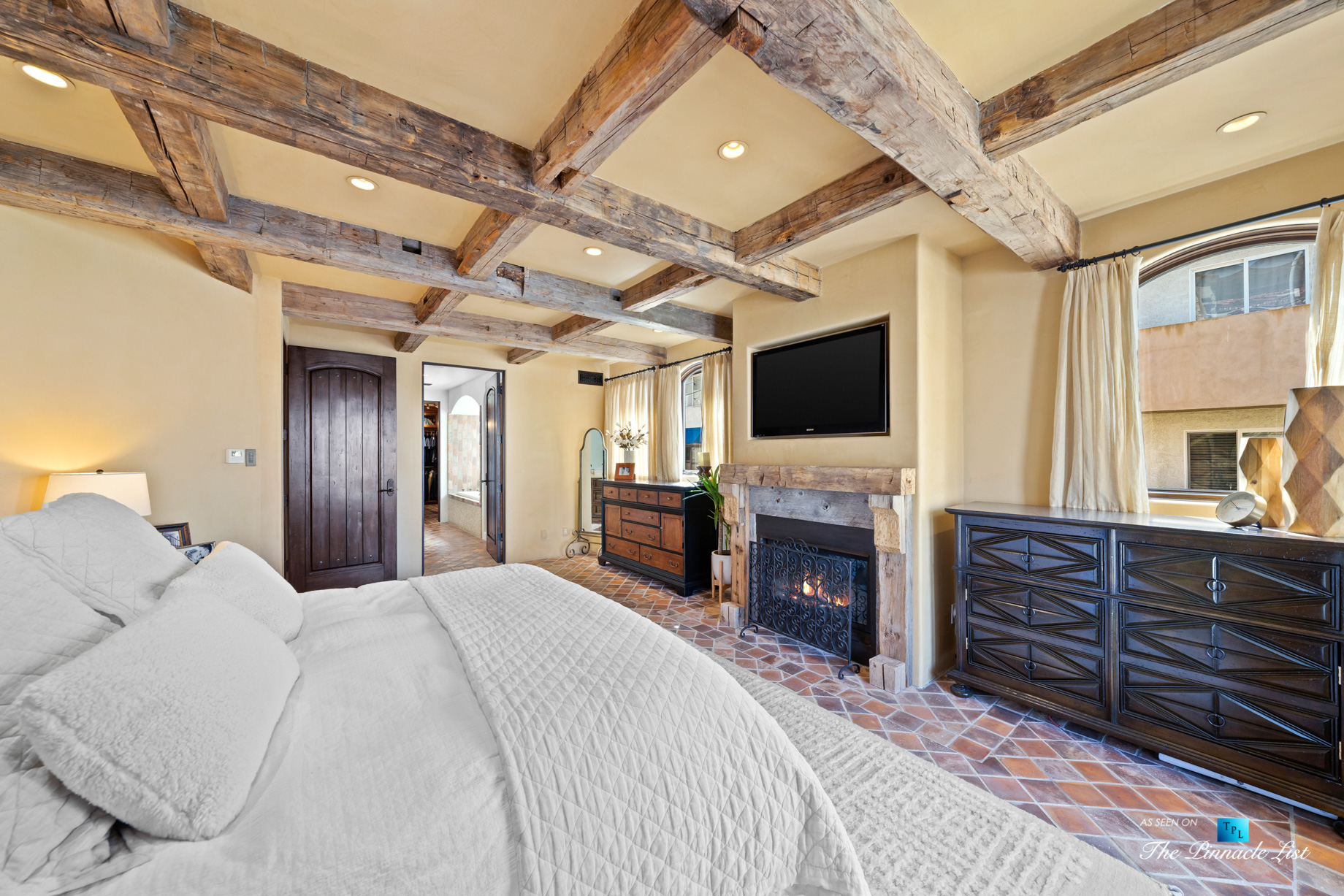 216 7th St, Manhattan Beach, CA, USA – Luxury Real Estate – Coastal Villa Home – Master Bedroom Fireplace