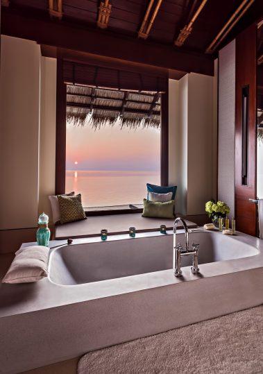 One&Only Reethi Rah Luxury Resort - North Male Atoll, Maldives - Overwater Villa Master Bathroom Tub Sunset