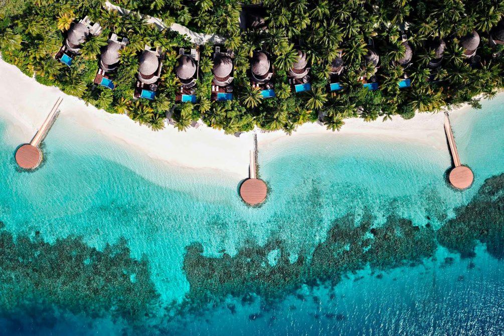 W Maldives Luxury Resort - Fesdu Island, Maldives - Wonderful Beach Oasis Aerial