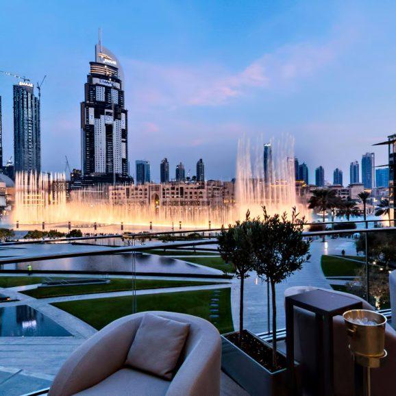 Armani Hotel Dubai - Burj Khalifa, Dubai, UAE - Armani Hashi Terrace Dubai Fountain View