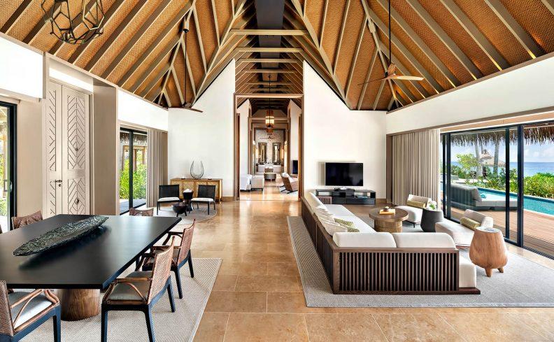 Waldorf Astoria Maldives Ithaafushi Luxury Resort - Ithaafushi Island, Maldives - Grand Beach Villa with Pool Living Room