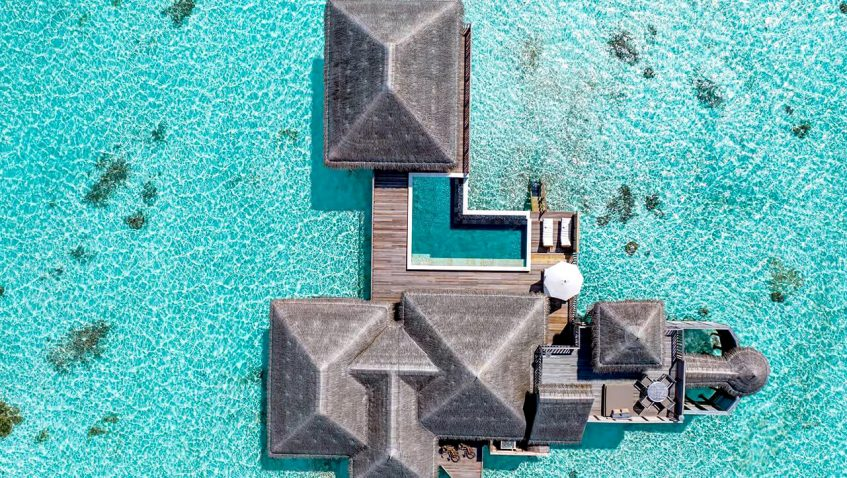 Gili Lankanfushi Luxury Resort - North Male Atoll, Maldives - Family Villa with Pool Overhead Aerial