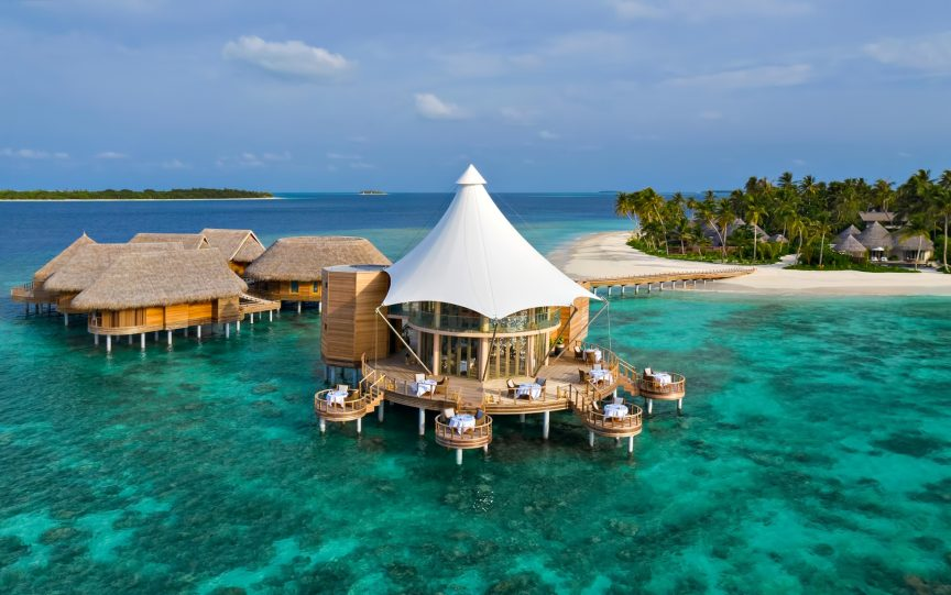 The Nautilus Maldives Luxury Resort - Thiladhoo Island, Maldives - Over Water Zeytoun Restaurant Aerial