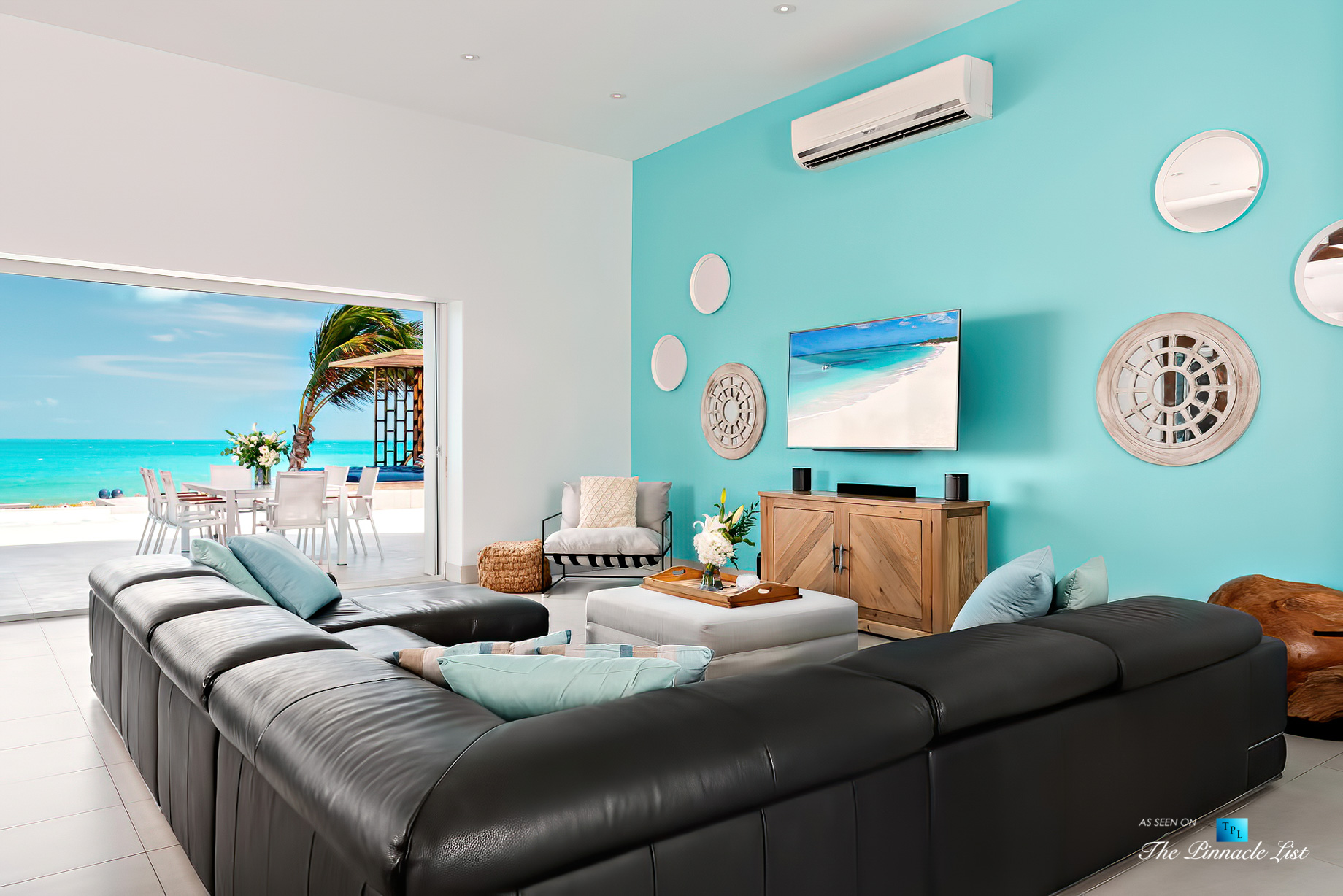 Tip of the Tail Luxury Villa – Providenciales, Turks and Caicos Islands – Living Room Ocean View