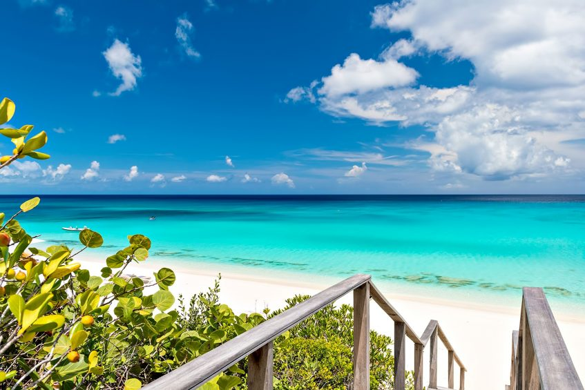 Amanyara Luxury Resort - Providenciales, Turks and Caicos Islands - White Sand Beach Stairs Turquoise Water