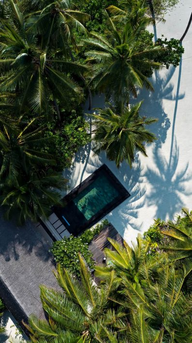 One&Only Reethi Rah Luxury Resort - North Male Atoll, Maldives - Beach Villa Overhead View